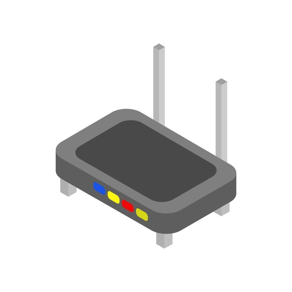 isometrischer Router auf weißem Hintergrund dargestellt vektor