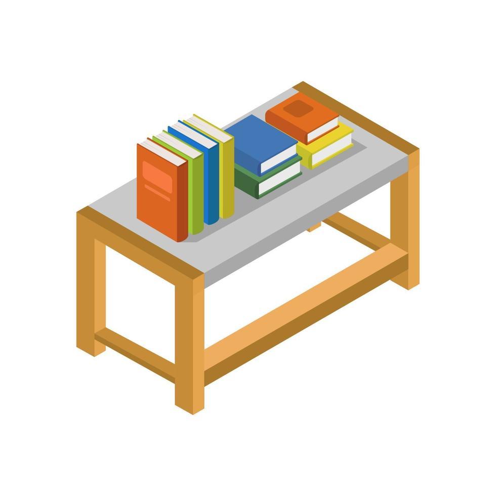 Bücher auf isometrischem Tisch auf weißem Hintergrund vektor
