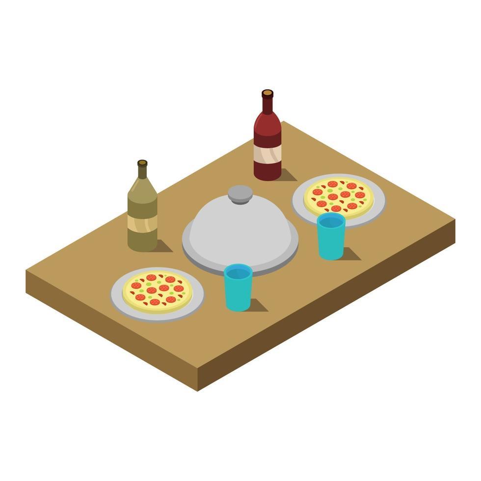 isometrischer Küchentisch auf weißem Hintergrund vektor