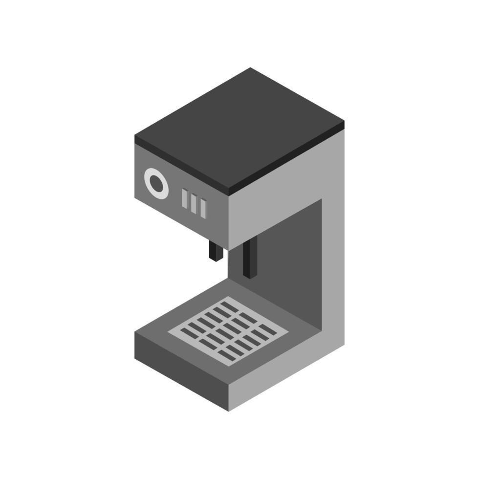 isometrische Kaffeemaschine auf weißem Hintergrund dargestellt vektor