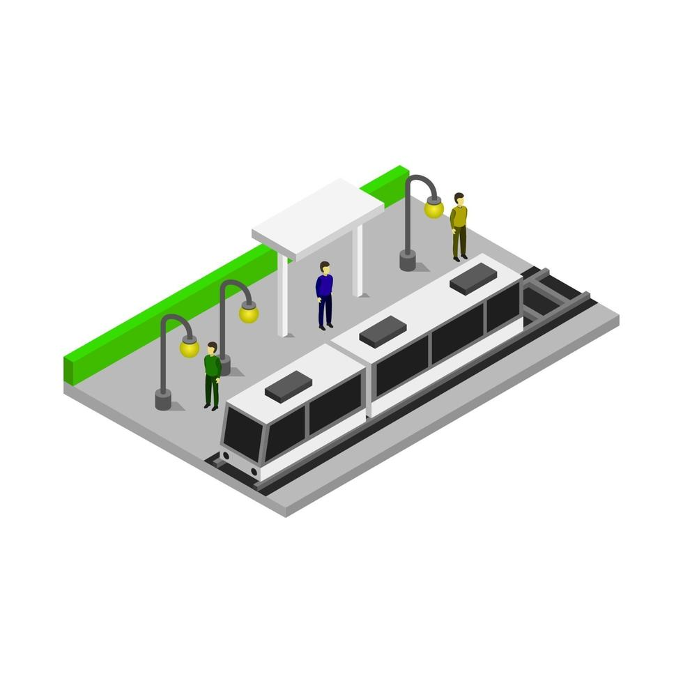 isometrische Straßenbahnhaltestelle auf weißem Hintergrund vektor