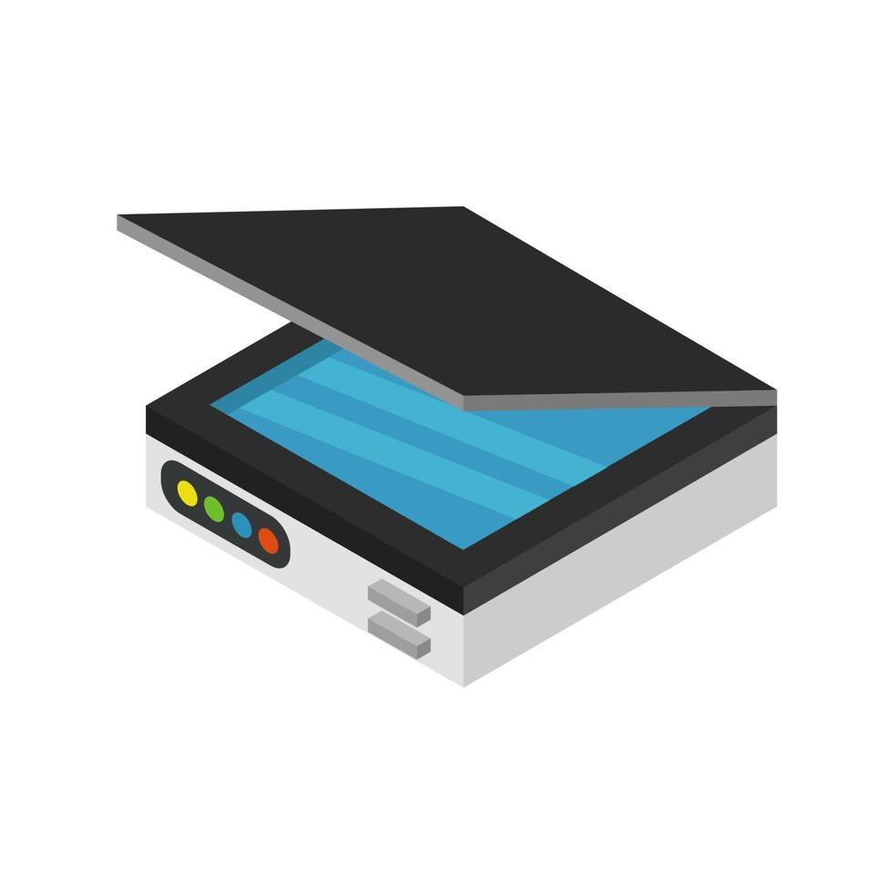 isometrischer Scanner auf weißem Hintergrund dargestellt vektor
