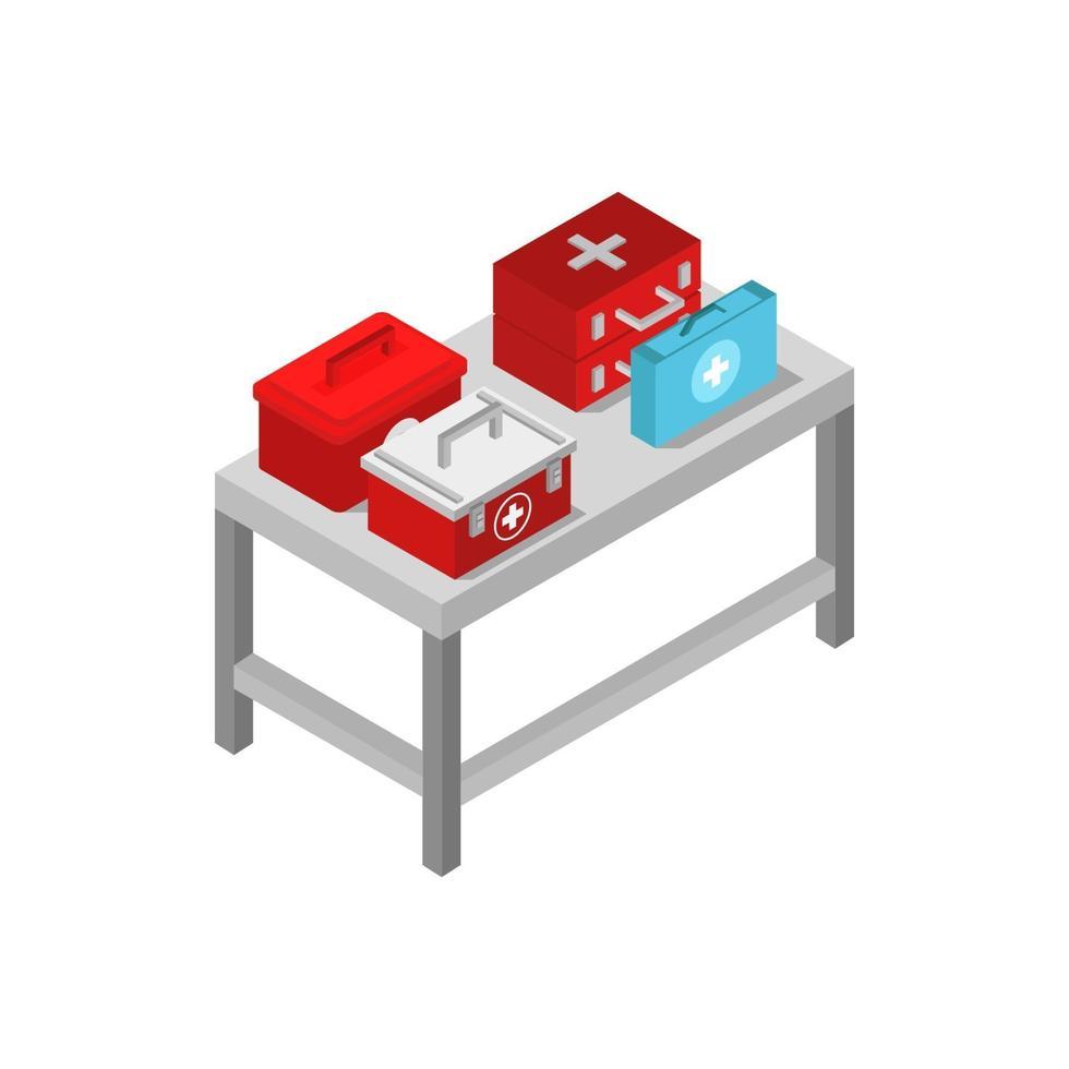 isometrische medizinische Tabelle auf weißem Hintergrund vektor