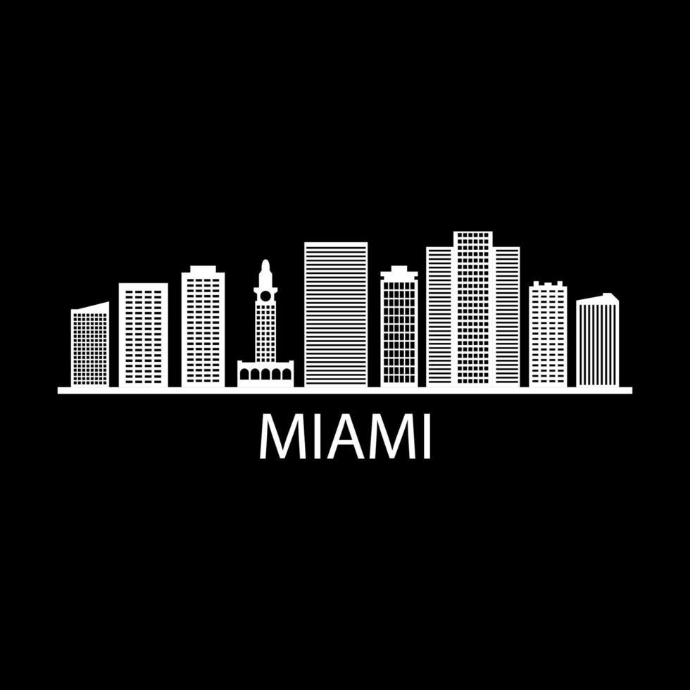Miami Skyline auf Hintergrund dargestellt vektor