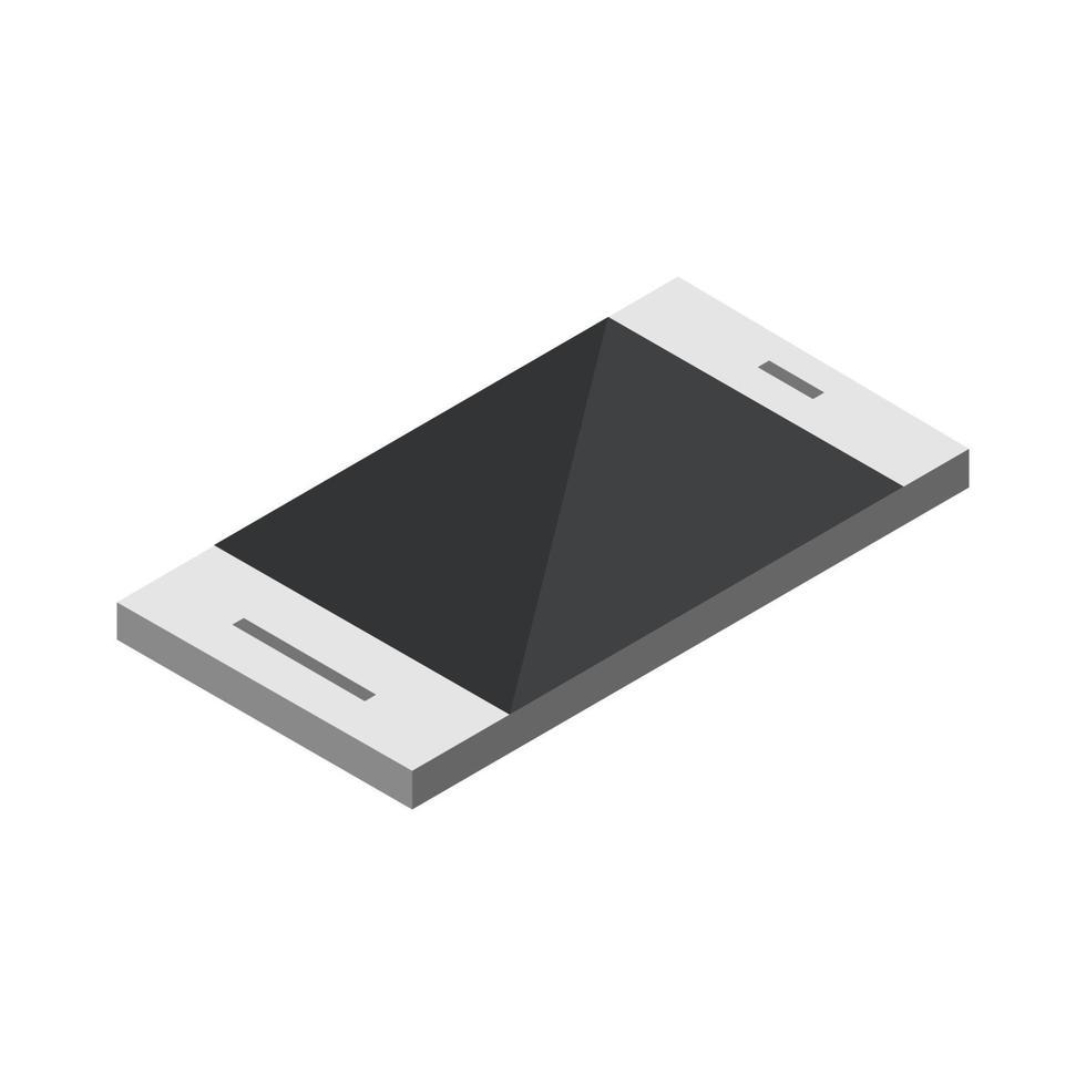 isometrisches Smartphone auf weißem Hintergrund dargestellt vektor