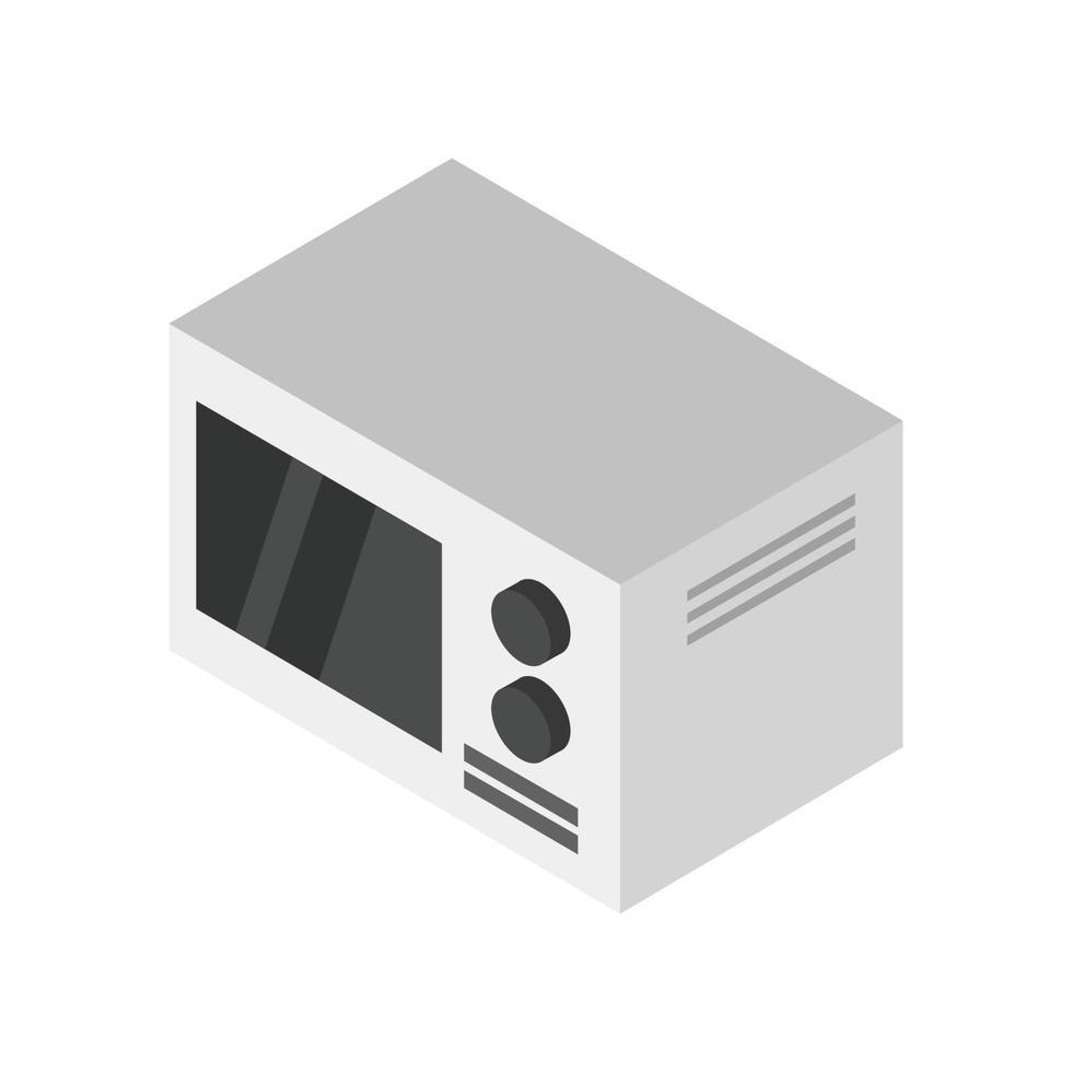 isometrischer Mikrowellenofen auf weißem Hintergrund dargestellt vektor