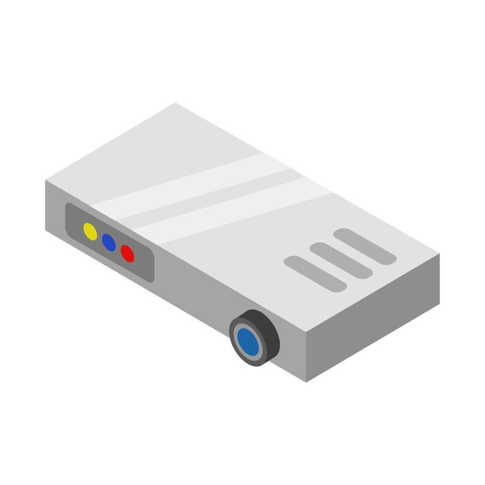 isometrischer Projektor auf weißem Hintergrund dargestellt vektor