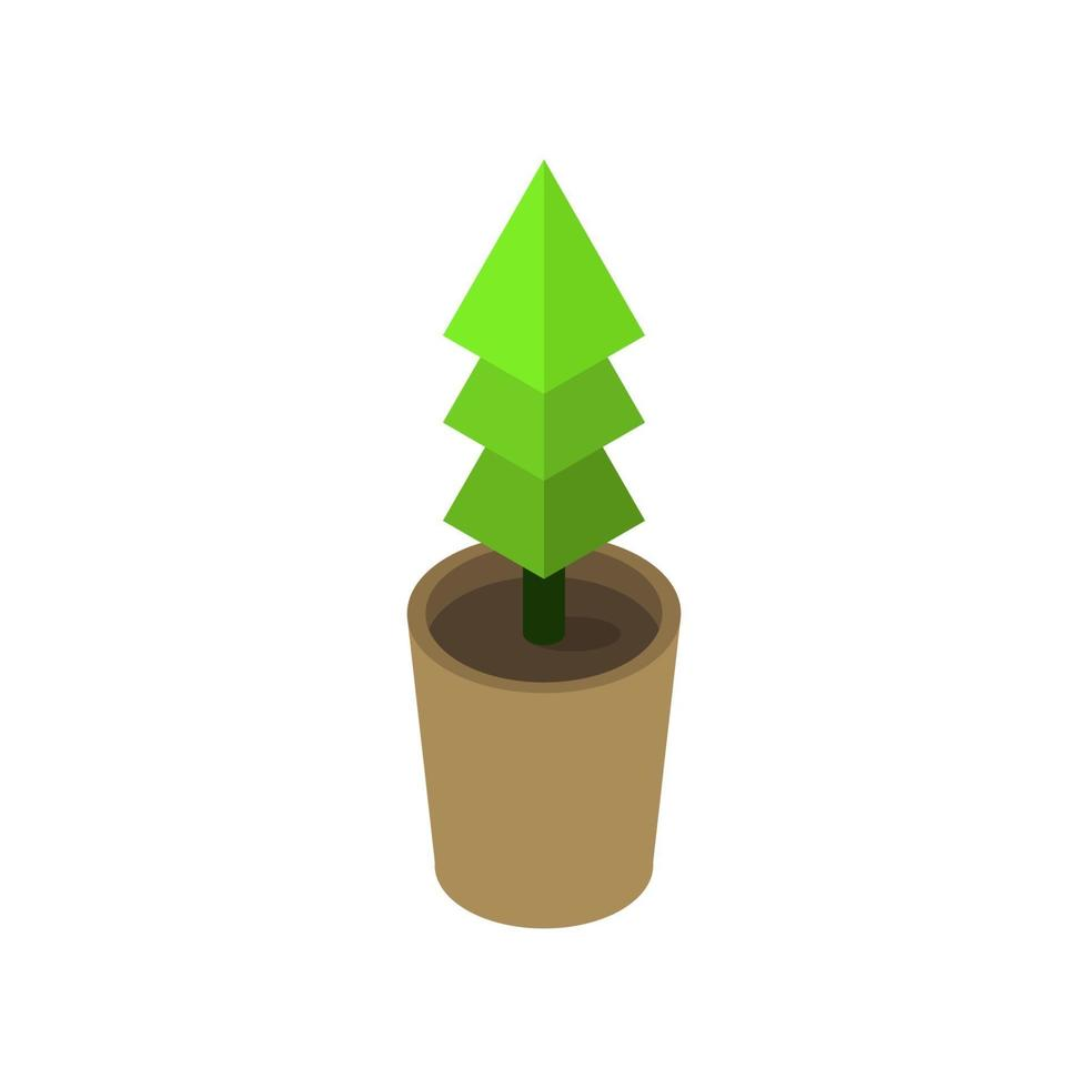 isometrische Pflanze auf weißem Hintergrund dargestellt vektor