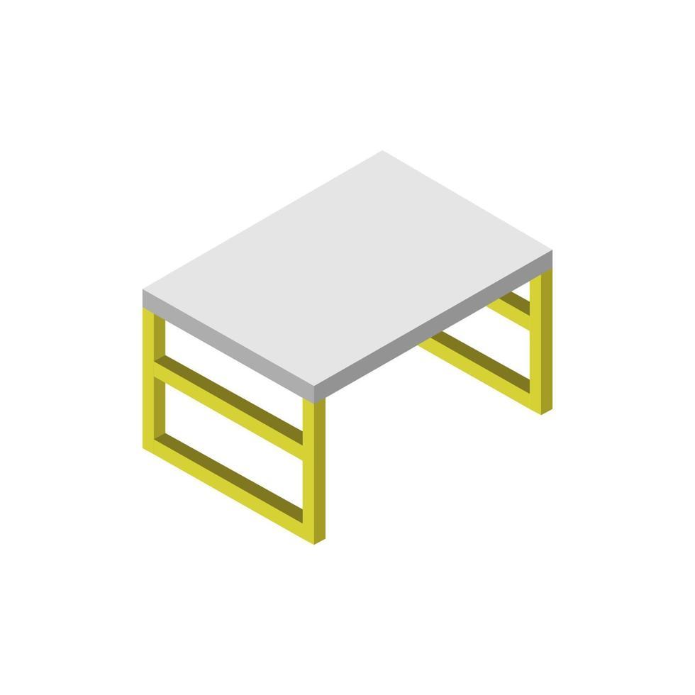 isometrischer Schreibtisch auf weißem Hintergrund dargestellt vektor