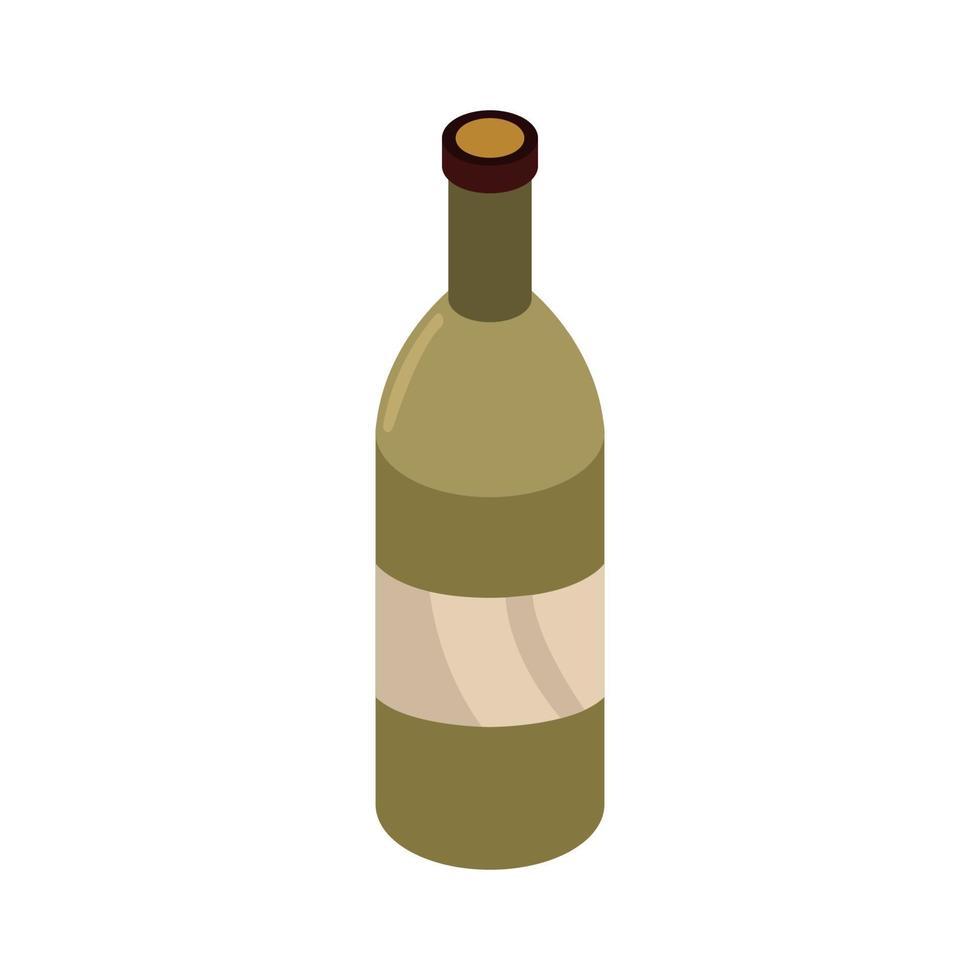 isometrische Weinflasche auf weißem Hintergrund vektor