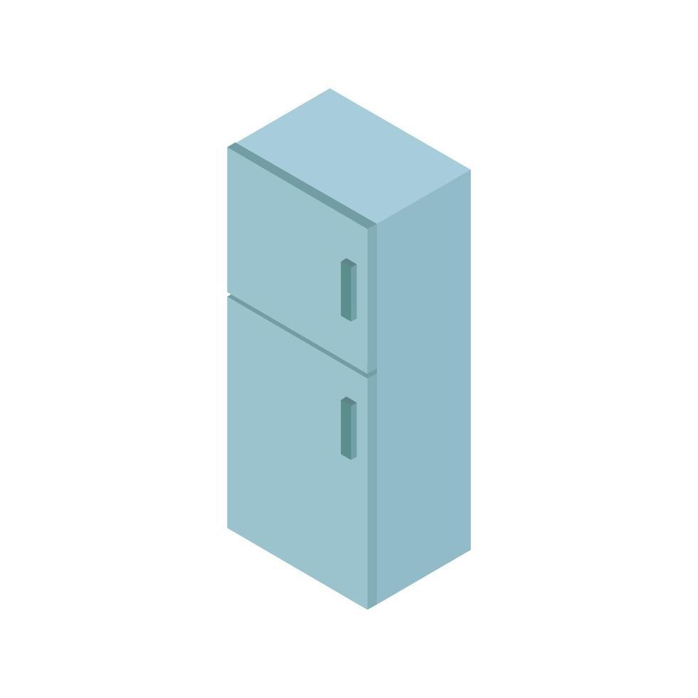 isometrischer Kühlschrank auf weißem Hintergrund dargestellt vektor