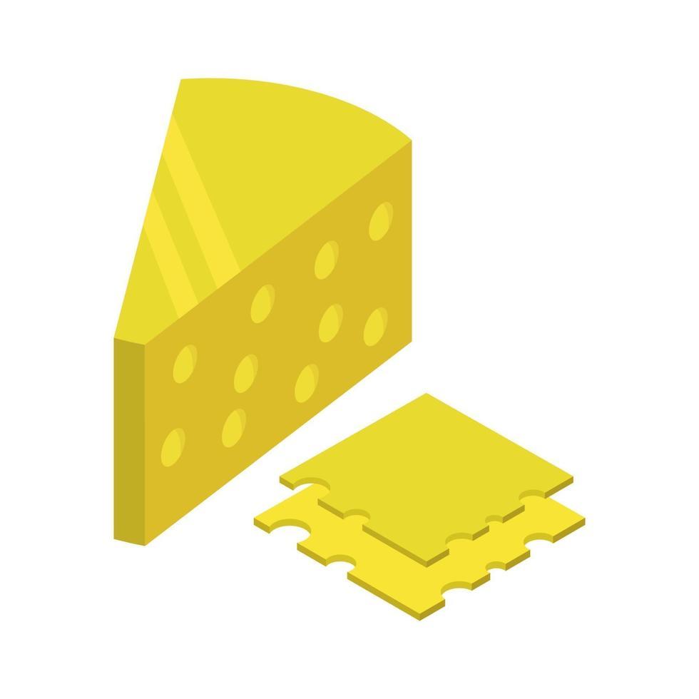 isometrischer Käse auf weißem Hintergrund vektor