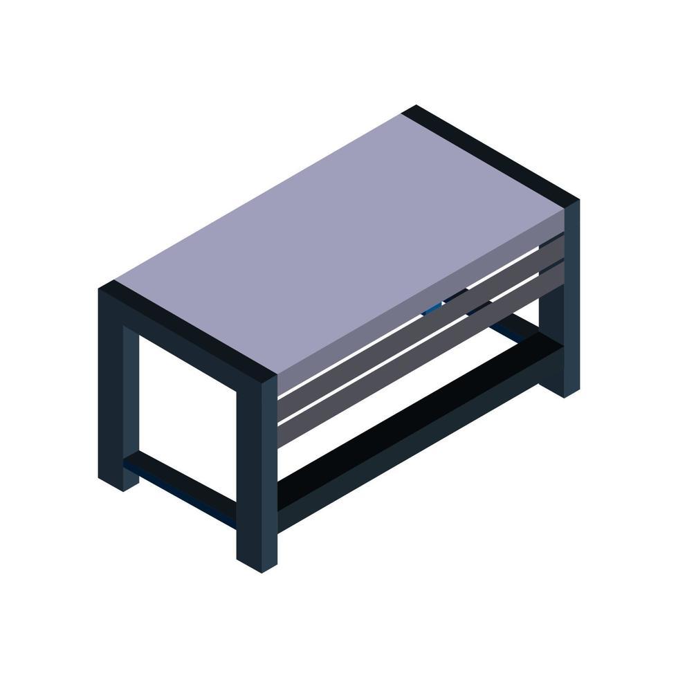 isometrische Tabelle auf weißem Hintergrund dargestellt vektor