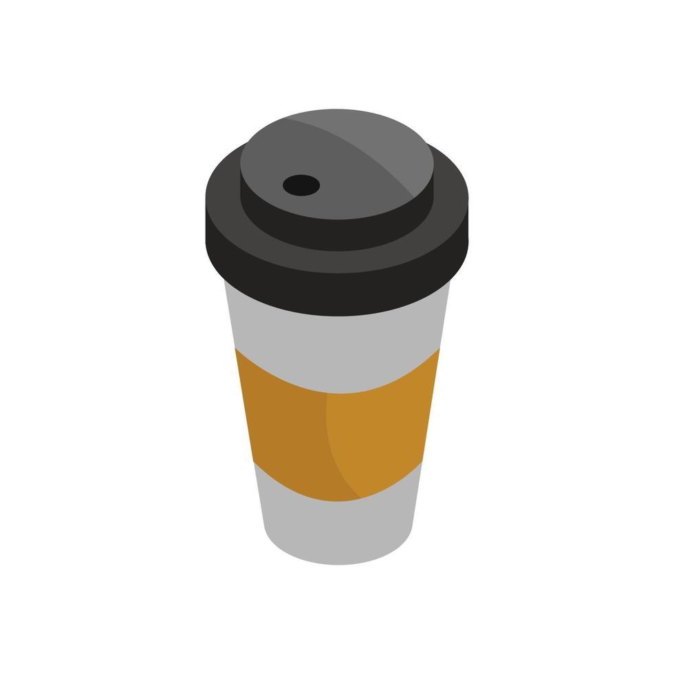 isometrische Kaffeetasse auf weißem Hintergrund vektor