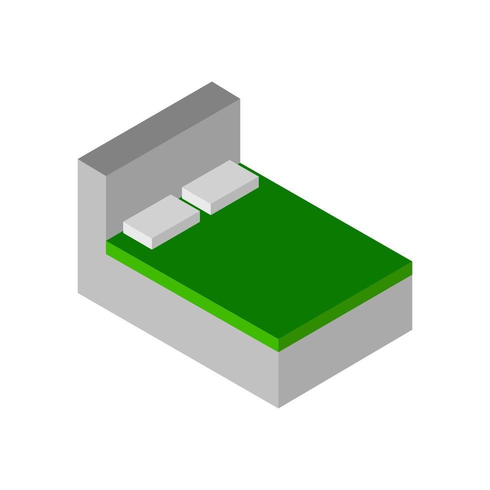 isometrisches Bett auf weißem Hintergrund dargestellt vektor
