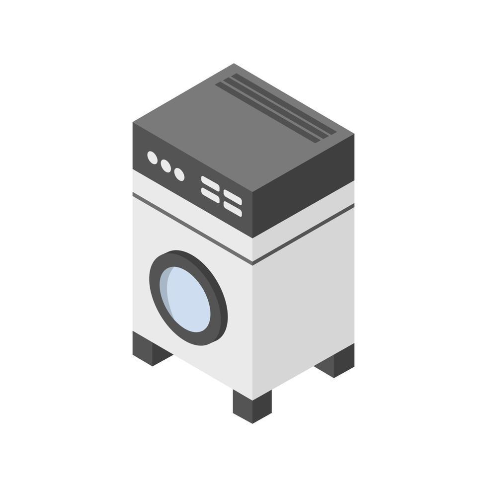isometrische Waschmaschine auf weißem Hintergrund dargestellt vektor