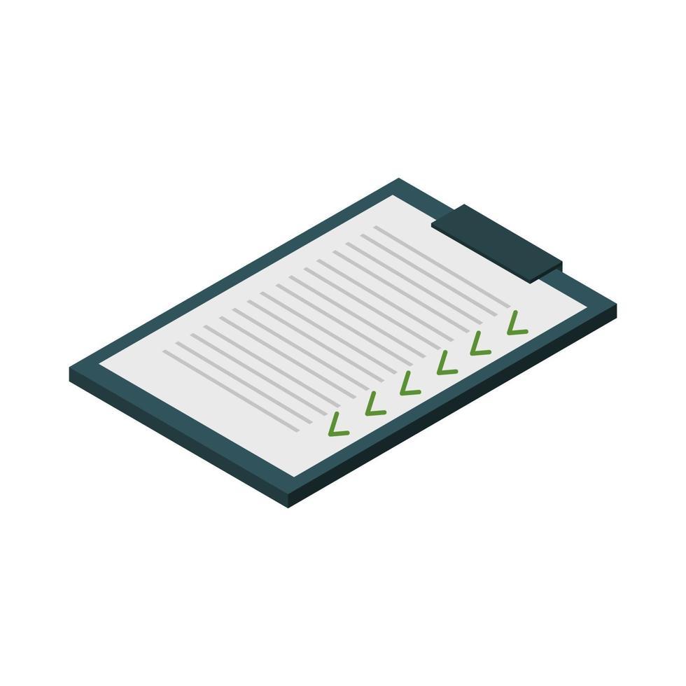 isometrische Checkliste auf weißem Hintergrund dargestellt vektor