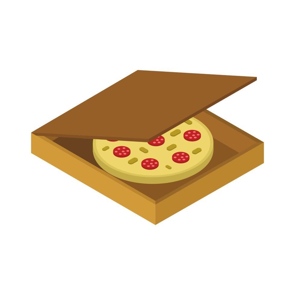 isometrische Pizza auf weißem Hintergrund vektor