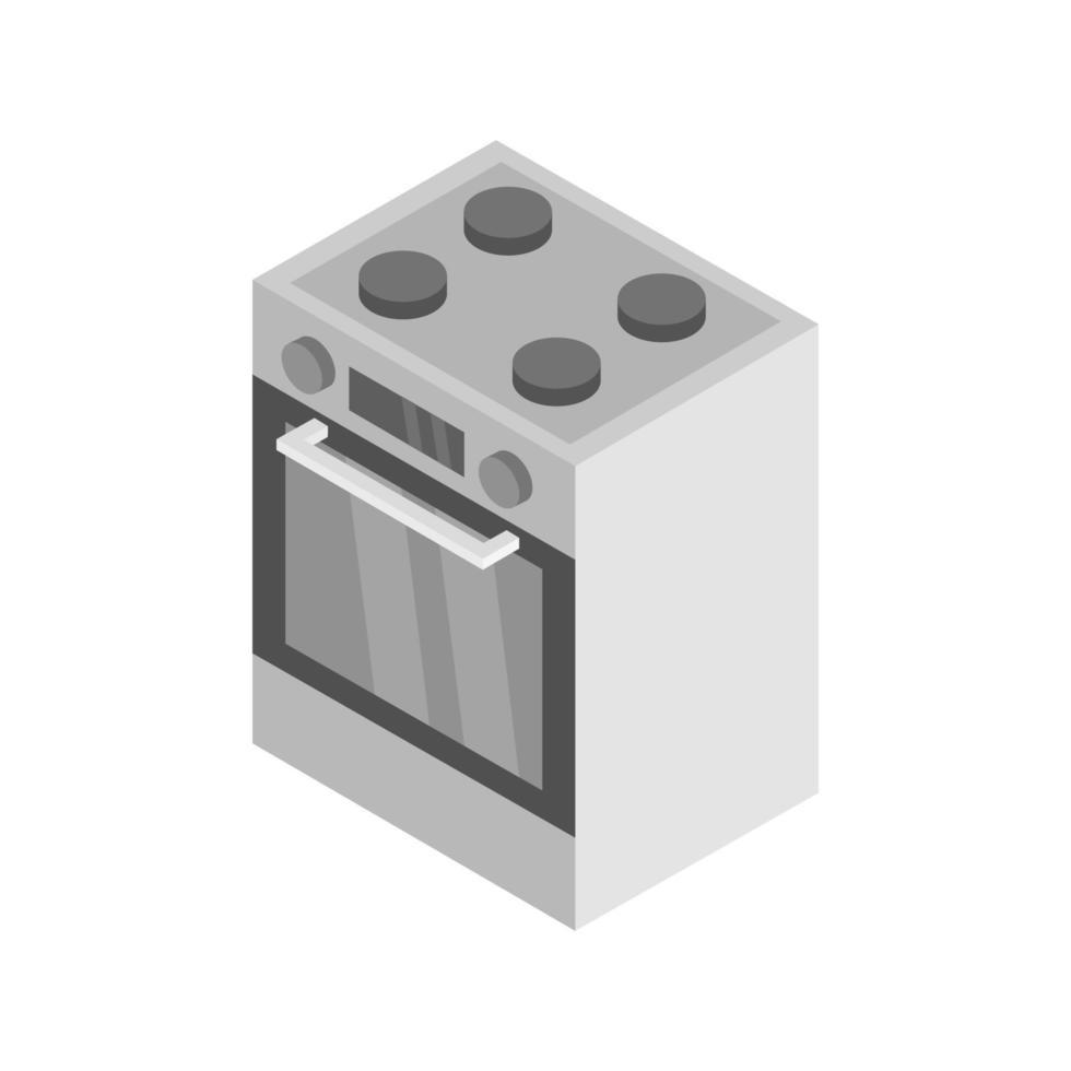 isometrischer Ofen auf weißem Hintergrund dargestellt vektor