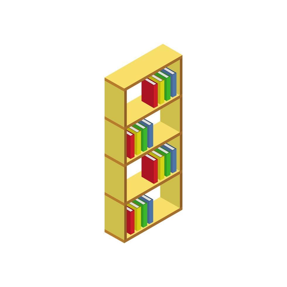 isometrisk bokhylla på vit bakgrund vektor