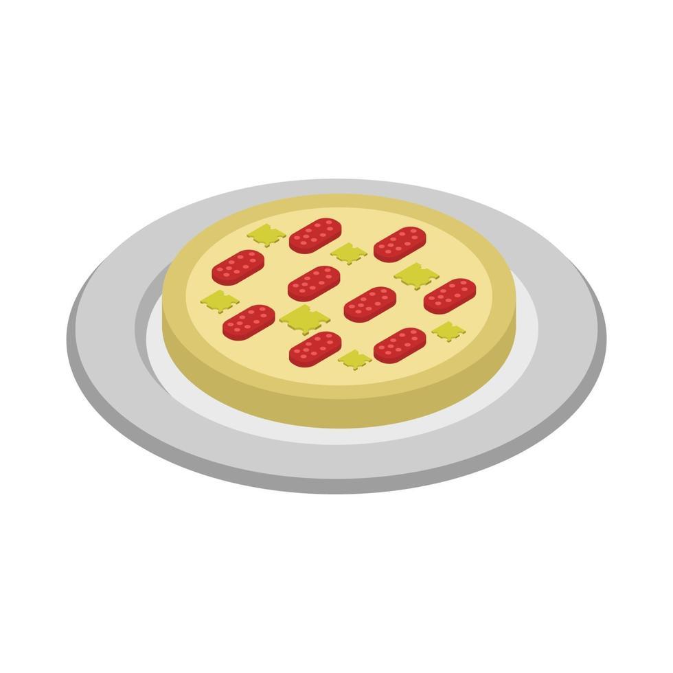 isometrisk pizza på vit bakgrund vektor