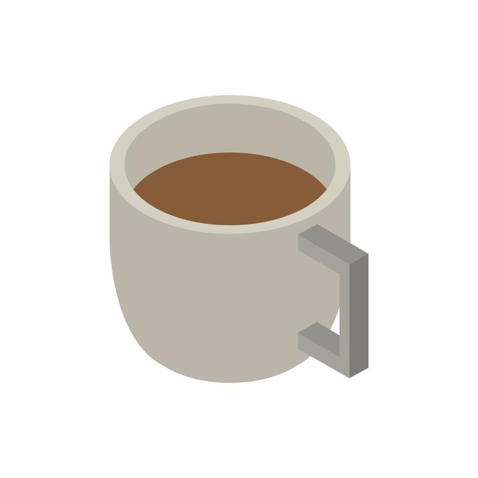 isometrisk kaffekopp på vit bakgrund vektor
