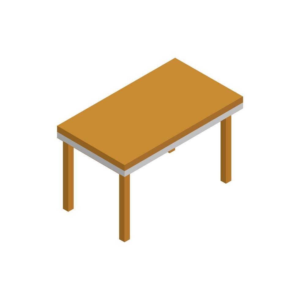 isometrisk tabell illustrerad på vit bakgrund vektor