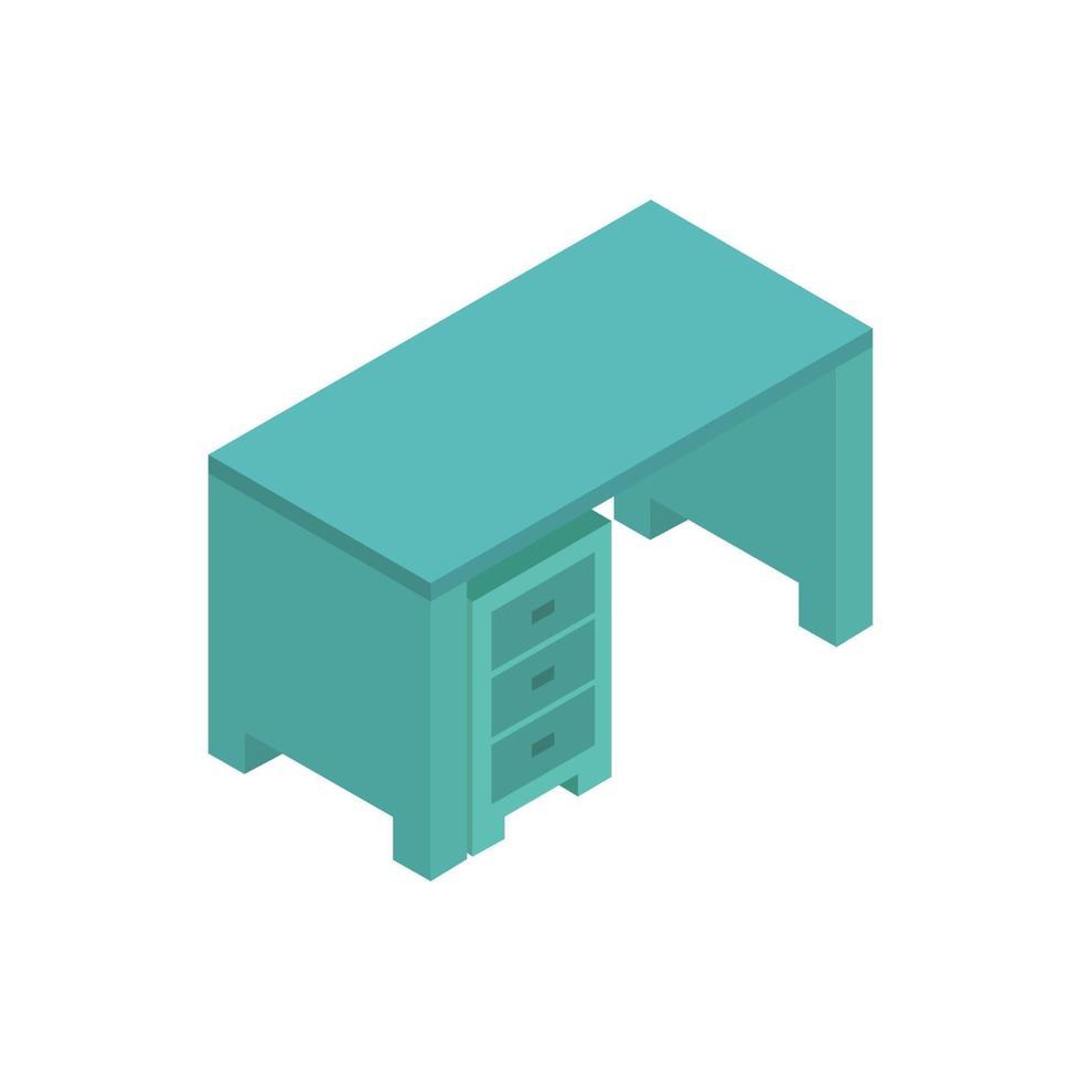 isometrisk skrivbord illustrerad på vit bakgrund vektor