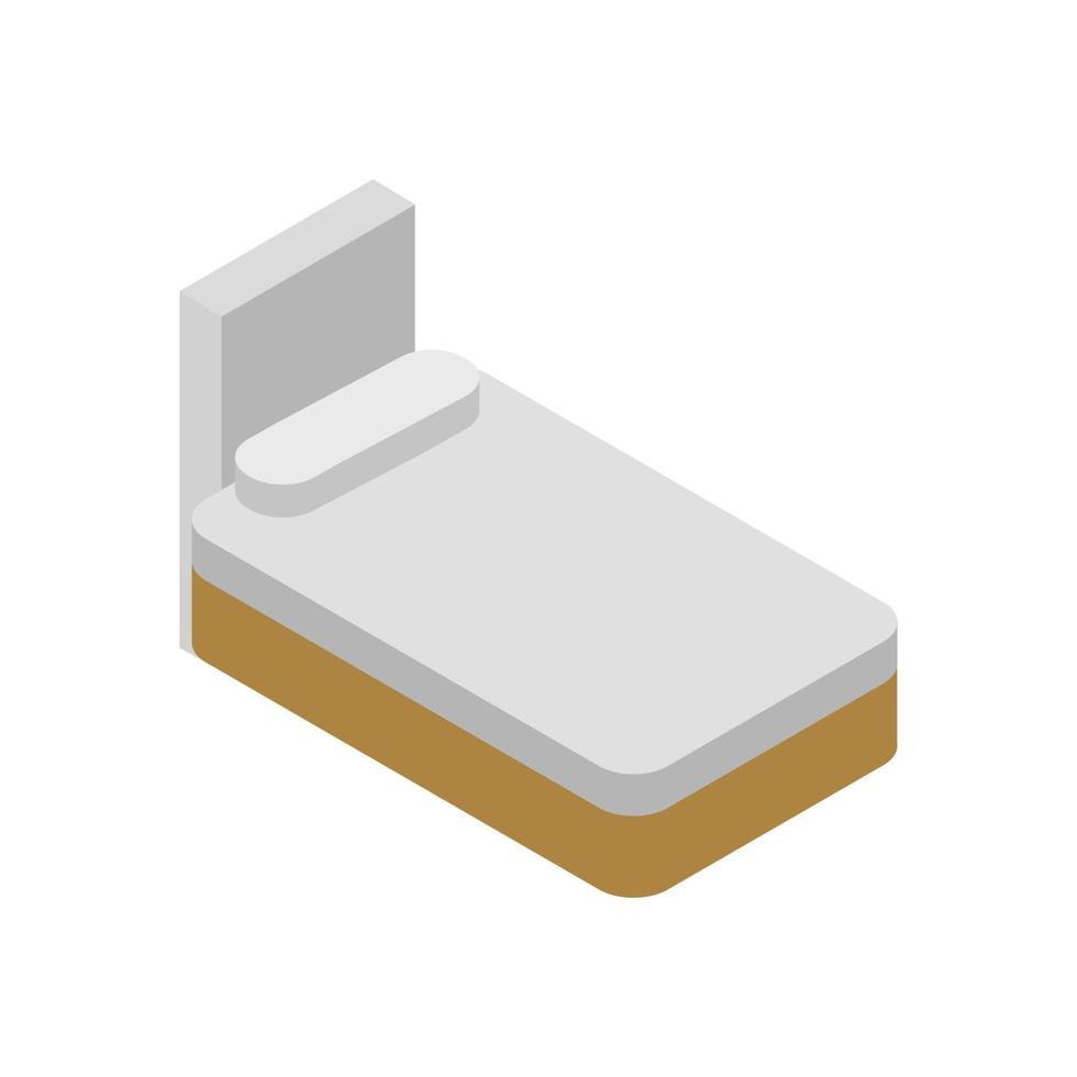 isometrisk säng på vit bakgrund vektor