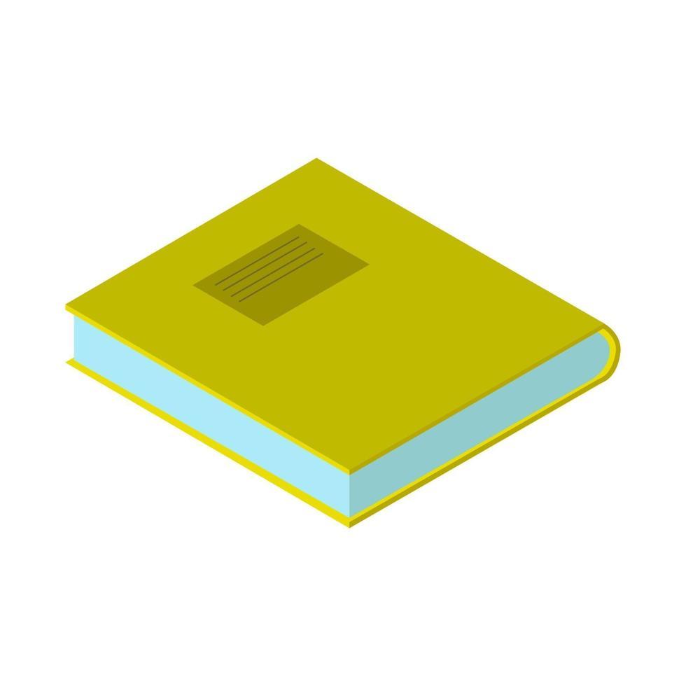 isometrisches Buch auf weißem Hintergrund dargestellt vektor