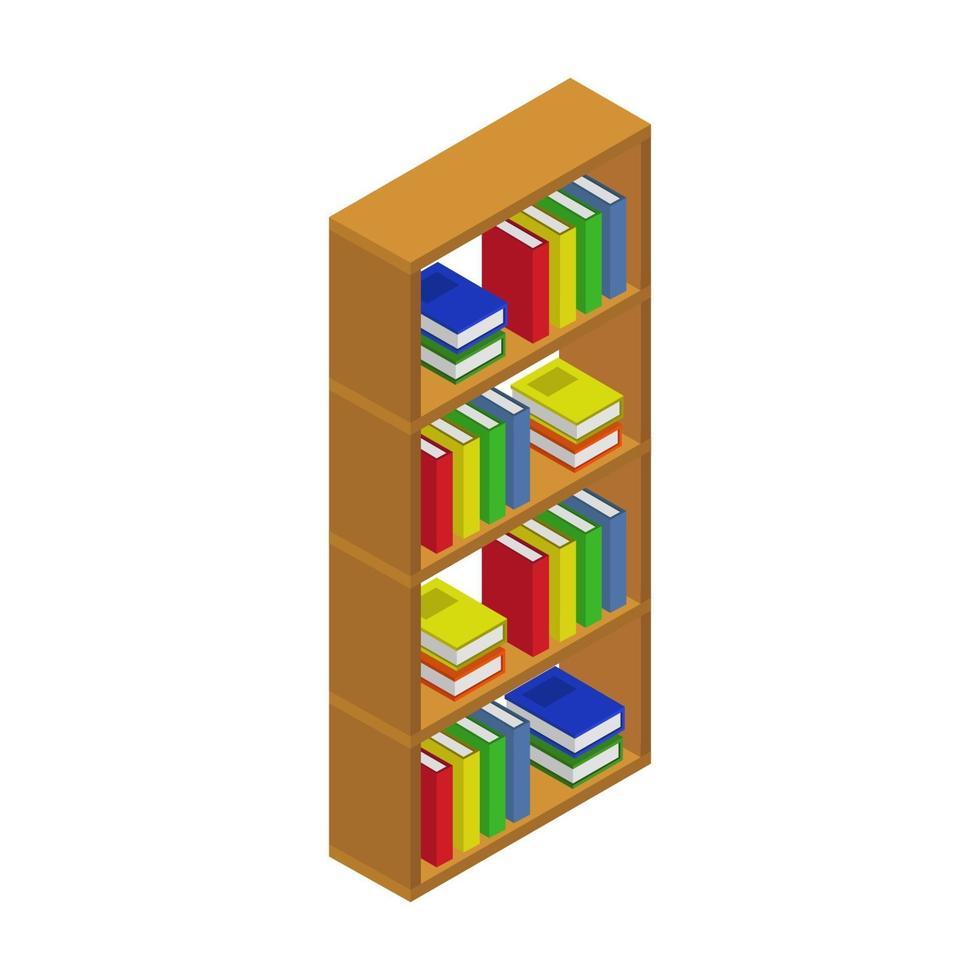 isometrisches Bücherregal auf weißem Hintergrund vektor