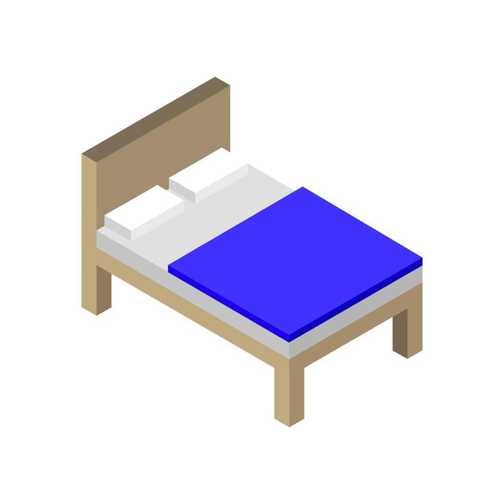 isometrisches Bett auf weißem Hintergrund vektor