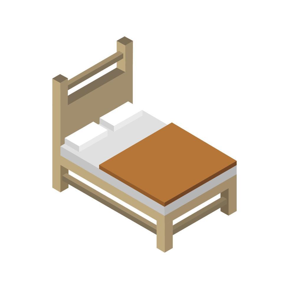 isometrisk säng illustrerad på vit bakgrund vektor