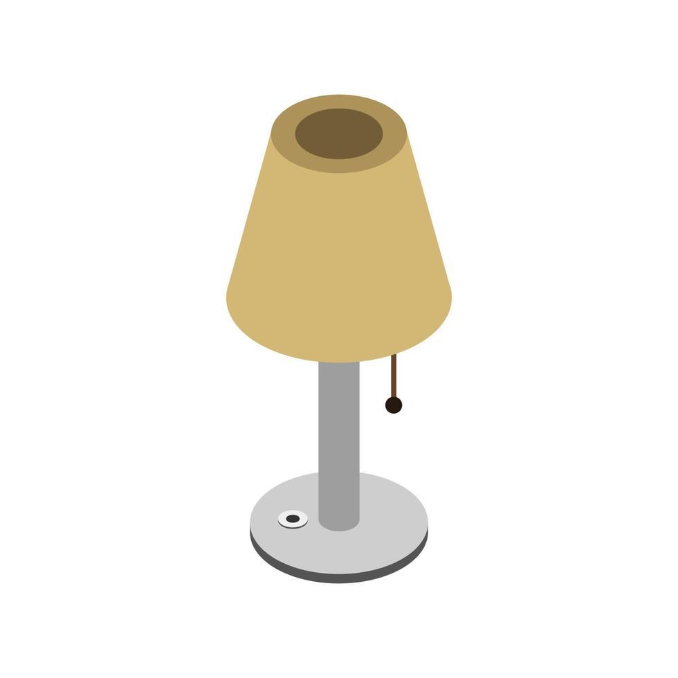 isometrische Nachttischlampe auf weißem Hintergrund vektor