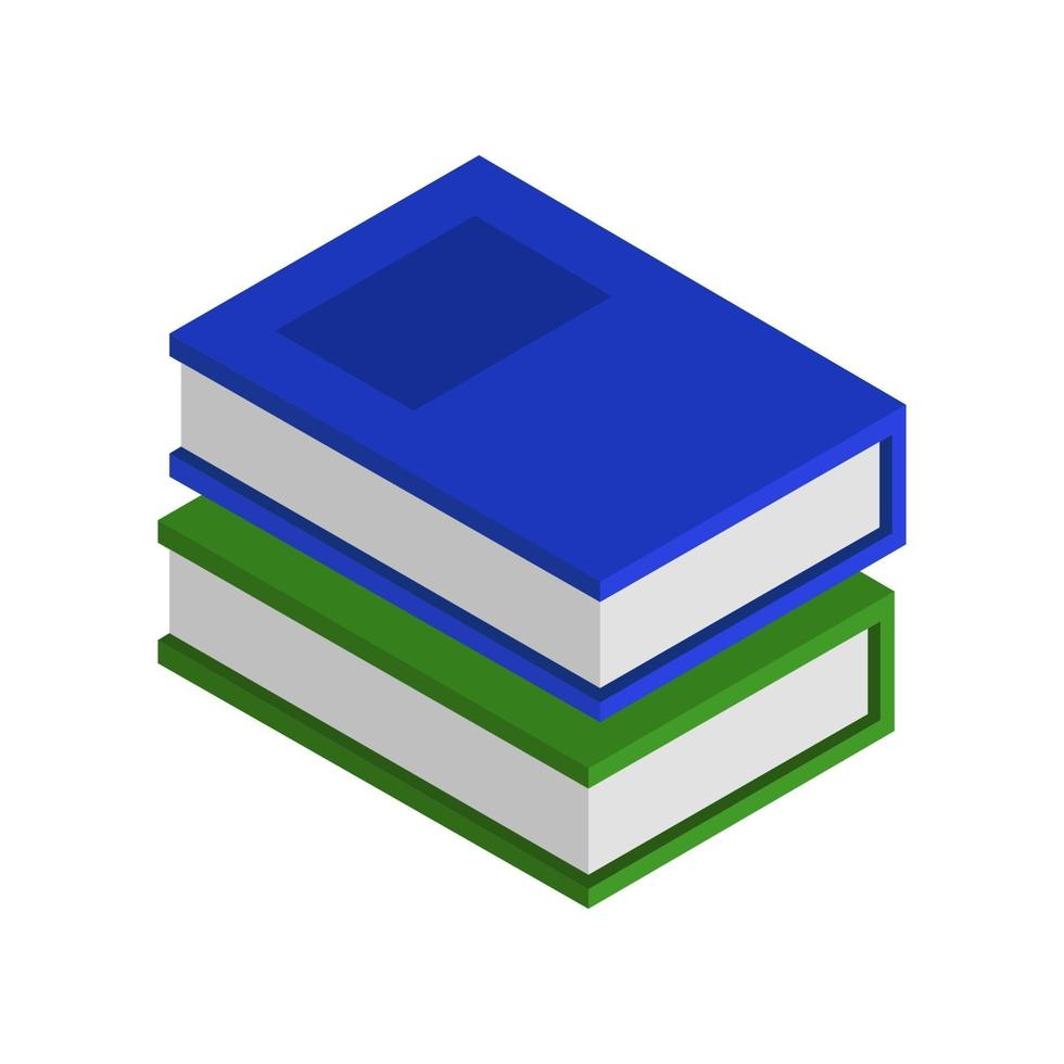 isometrisk bok illustrerad på vit bakgrund vektor