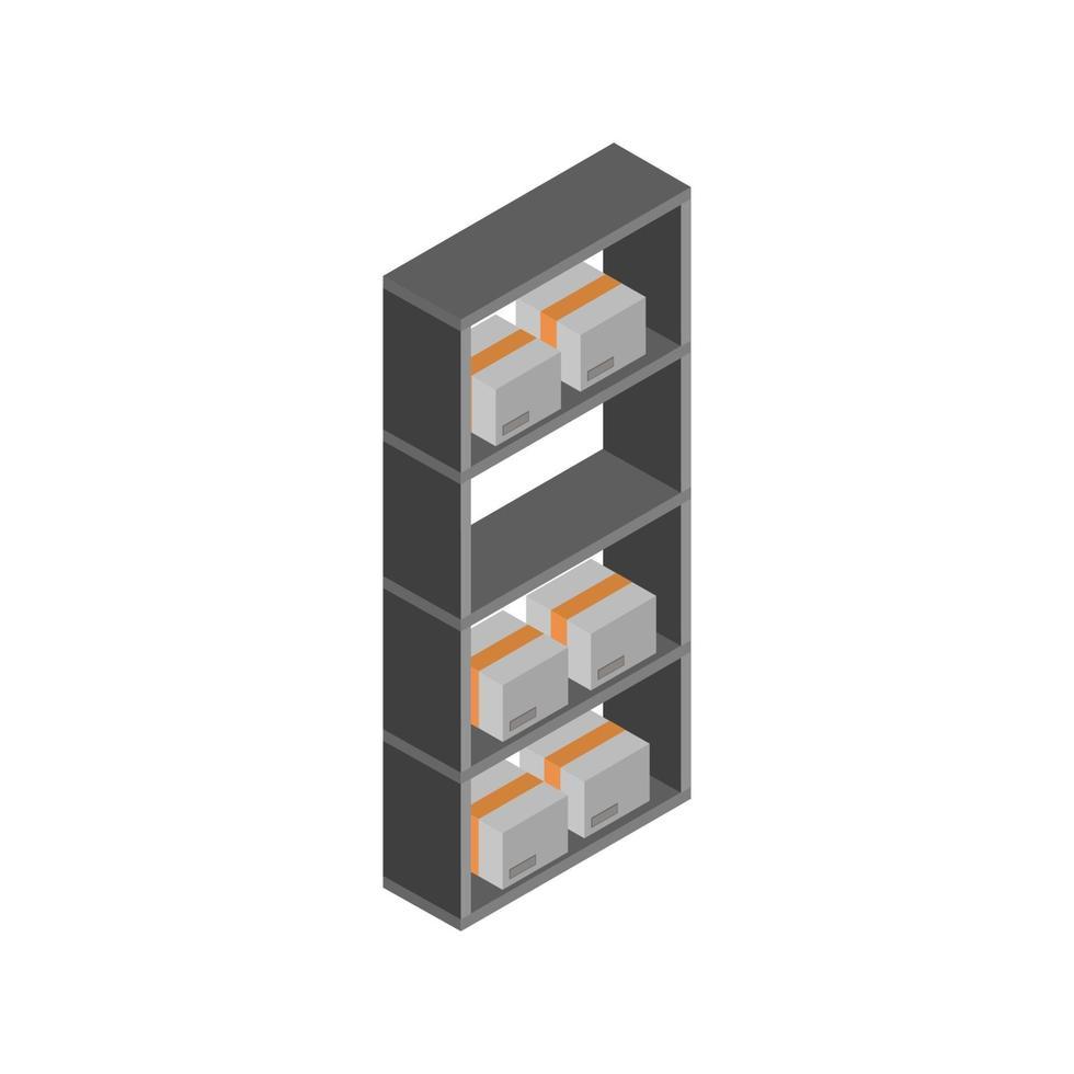 Lagerregal isometrisch auf weißem Hintergrund vektor
