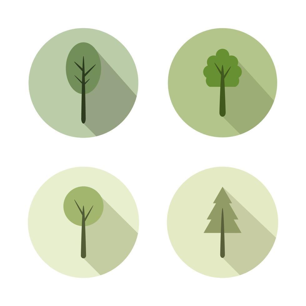 uppsättning träd på vit bakgrund vektor