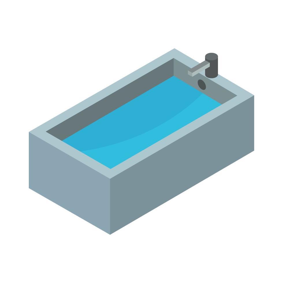 isometrische Badewanne auf weißem Hintergrund vektor