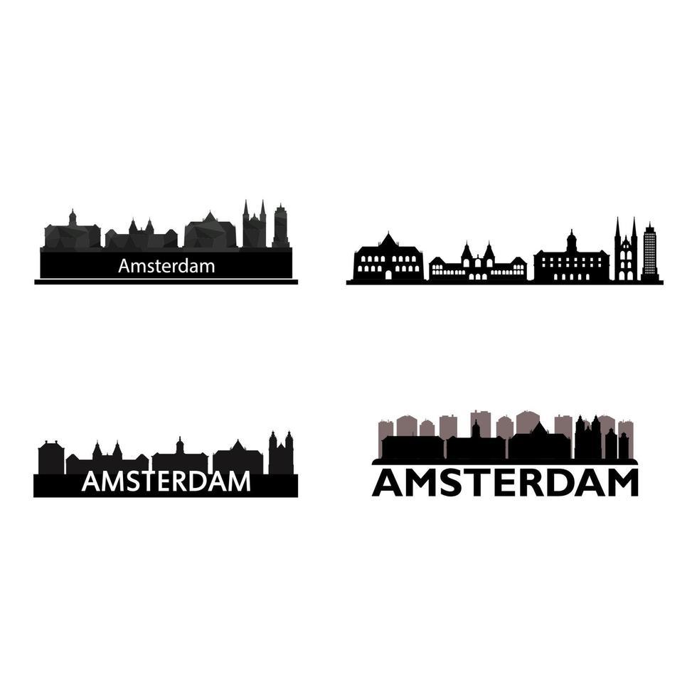 Amsterdam Skyline auf weißem Hintergrund eingestellt vektor
