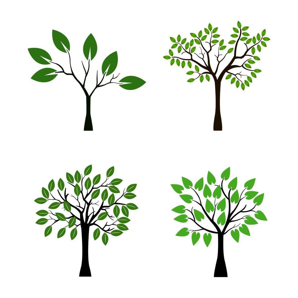 Satz Bäume auf weißem Hintergrund vektor