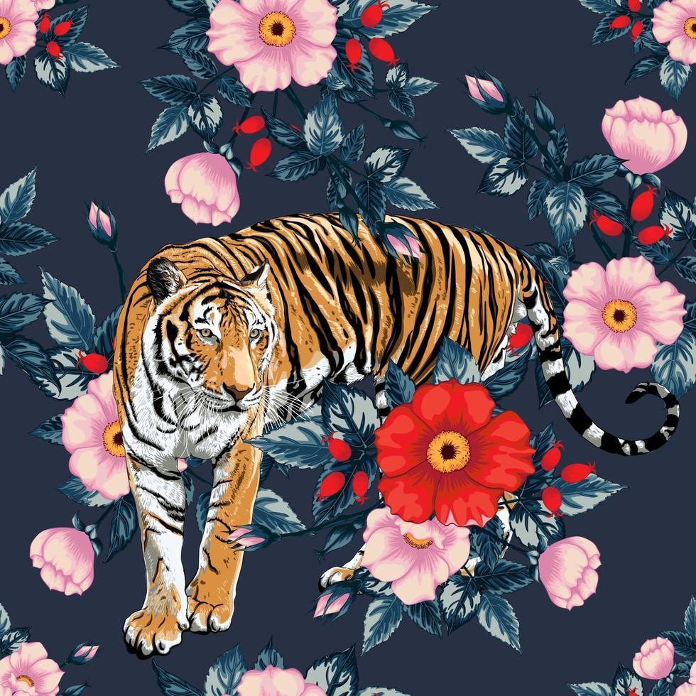 nahtlose Muster rote Rosea und rosa wilde Rosenblumen auf schwarzem Hintergrund. Vektor-Illustration Handzeichnung Doodle.für gebrauchte Tapete Design, Textilstoff oder Geschenkpapier. vektor