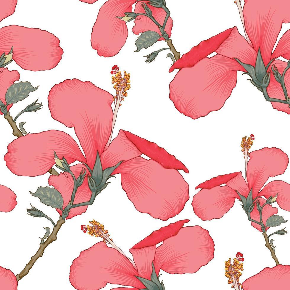 sömlösa mönster tropisk sommar med röda hibiskusblommor på isolerad vit bakgrund. vektor illustration hand ritning torr akvarell stil. för tygdesign.