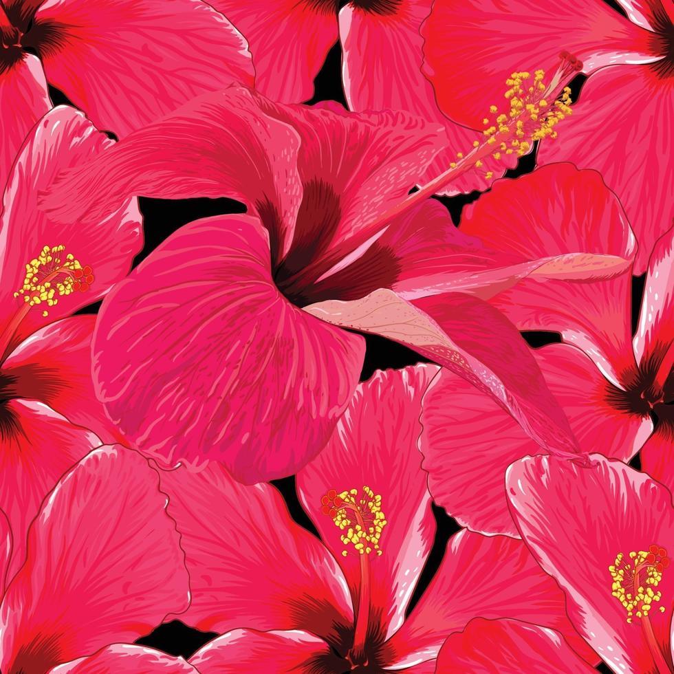 sömlösa mönster tropisk sommar med röd hibiskus blommor abstrakt svart bakgrund. vektor illustration hand ritning akvarell stil. för tygdesign.
