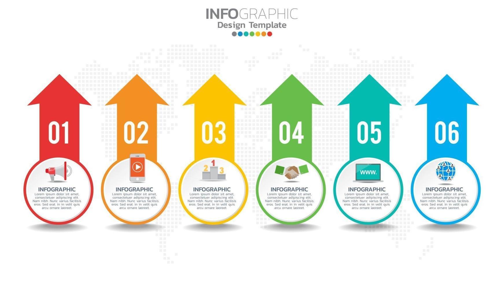 infograph 6 steg färgelement med pil, diagramdiagram, affärs online marknadsföringskoncept. vektor