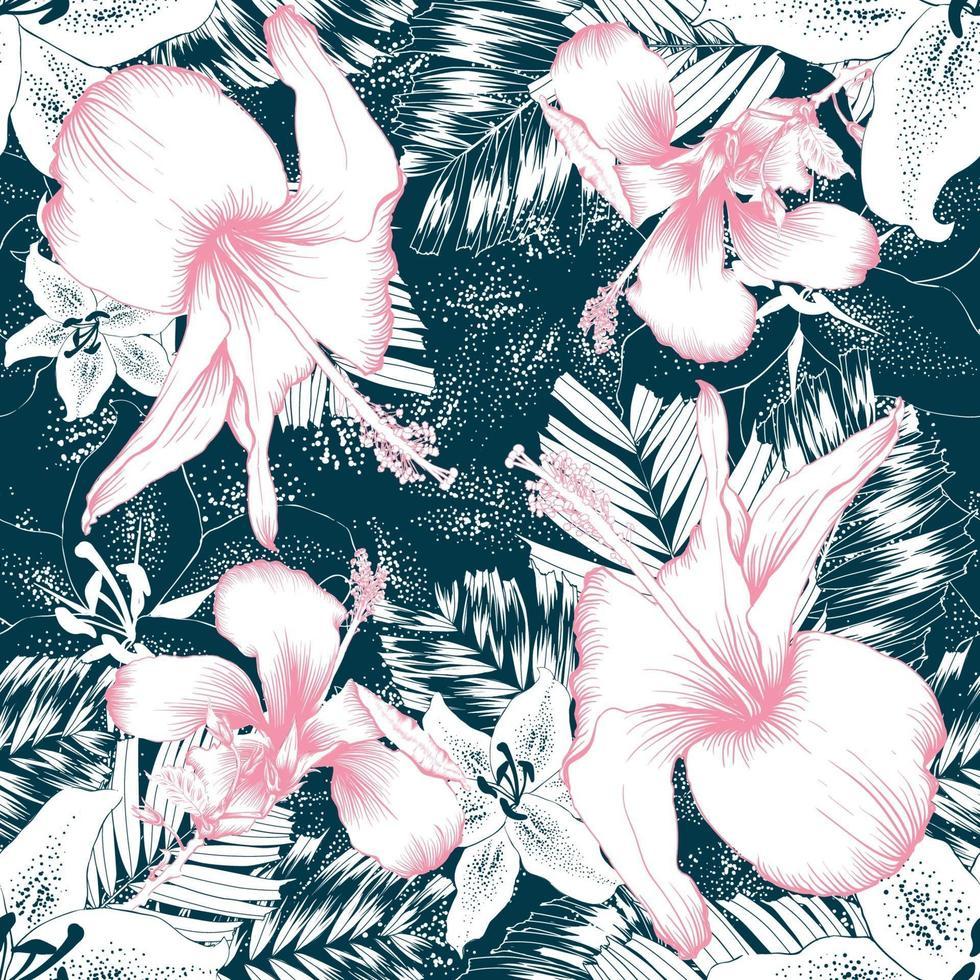 sömlösa mönster rosa hibiskus och vita liljor blommor och palmblad på mörkgrön bakgrund. vektor illustration linje konst ritning.
