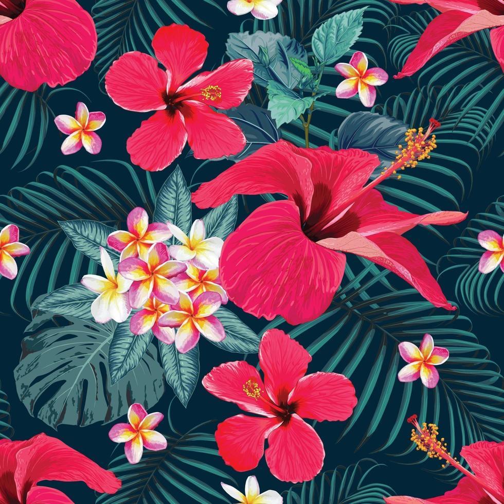 sömlösa mönster tropisk sommar med röd hibiskus och frangipani blommor abstrakt bakgrund. vektor illustration hand ritning akvarell stil. för tygdesign.