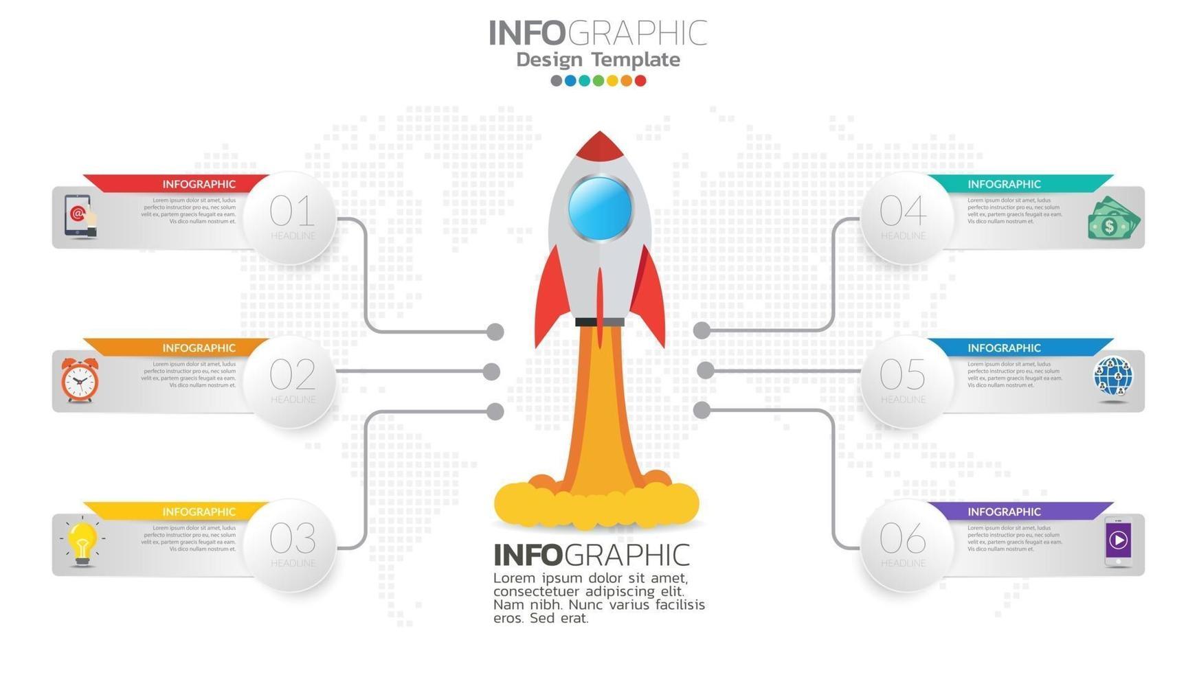 6 steg startinfografik med raketlansering. affärs- och ekonomikoncept. vektor