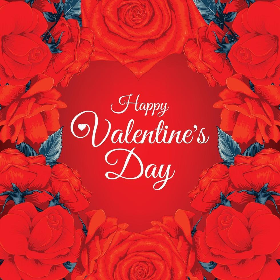 reizender glücklicher Valentinstaghintergrund mit roten Rosenblumen. Vektorillustration Hand gezeichnet. vektor