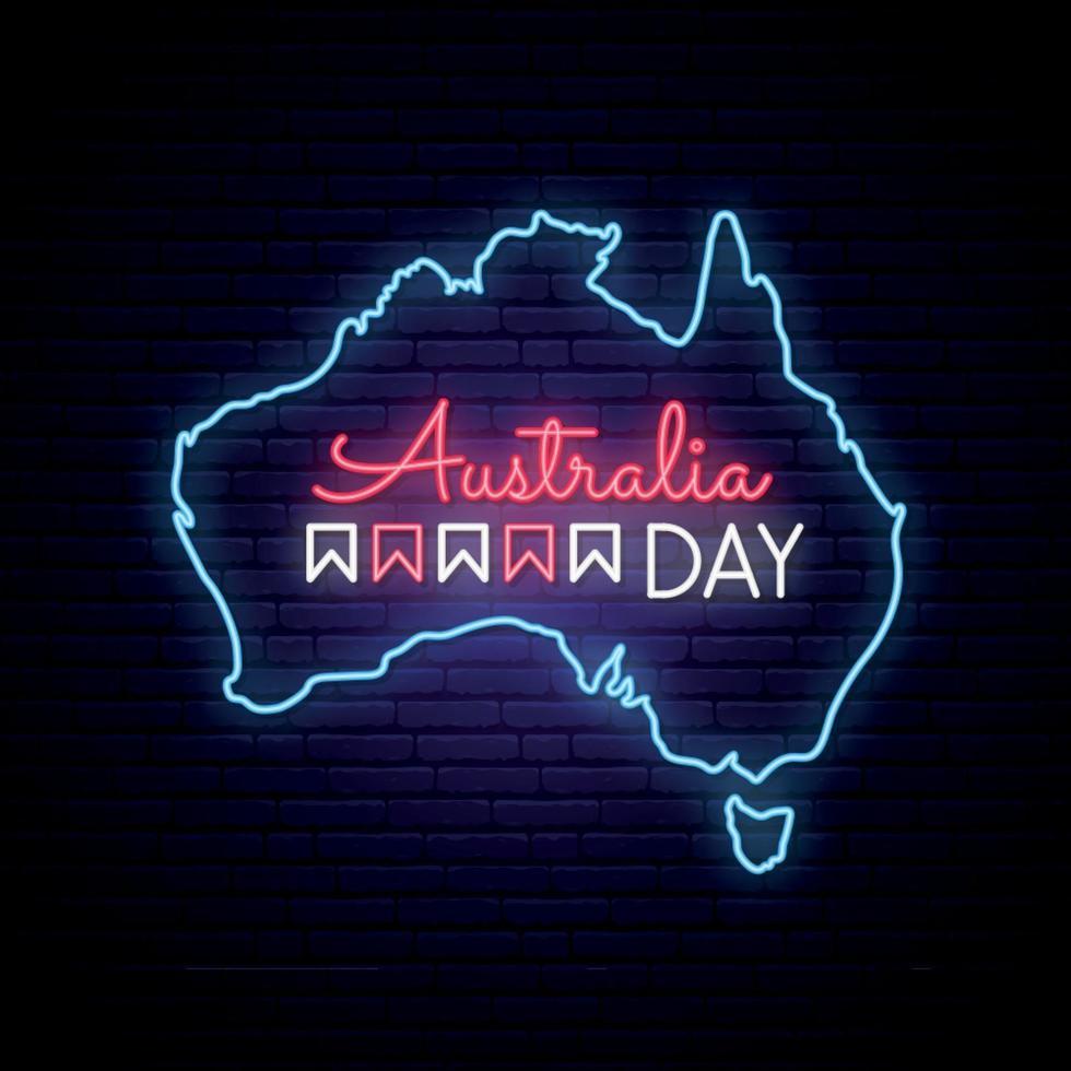 australiens dag neon karta vektor