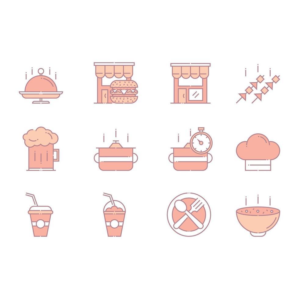färgglada snabbmat och dryck ikoner vektor